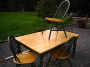 Farm House Table w/ four Windsor style chairs