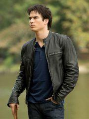 Damon Salvatore Vampire Diaries Leather Jacket